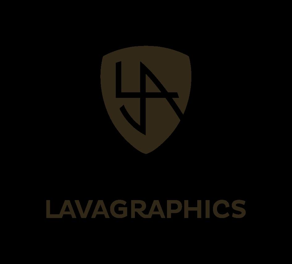 Het logo bestaat uit een schild waarop de letter l, v en a gestilleerd worden weergegeven. Dit schild wordt gefklankeerd door het woord Lavagraphics