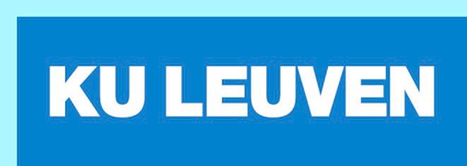 Een blauwe balk met in grote witte bloketters KU Leuven