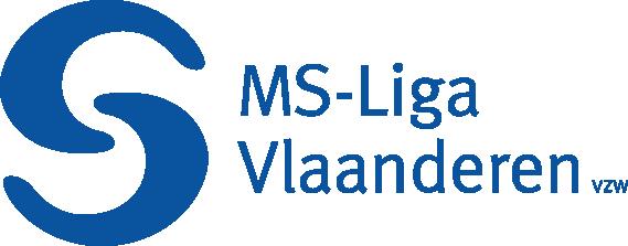 Het logo bestaat uit twee stillistisch in elkaar hakende haakjes. De letters zijn blauw en naast het symbool staat MS-Liga Vlaanderen geschreven.