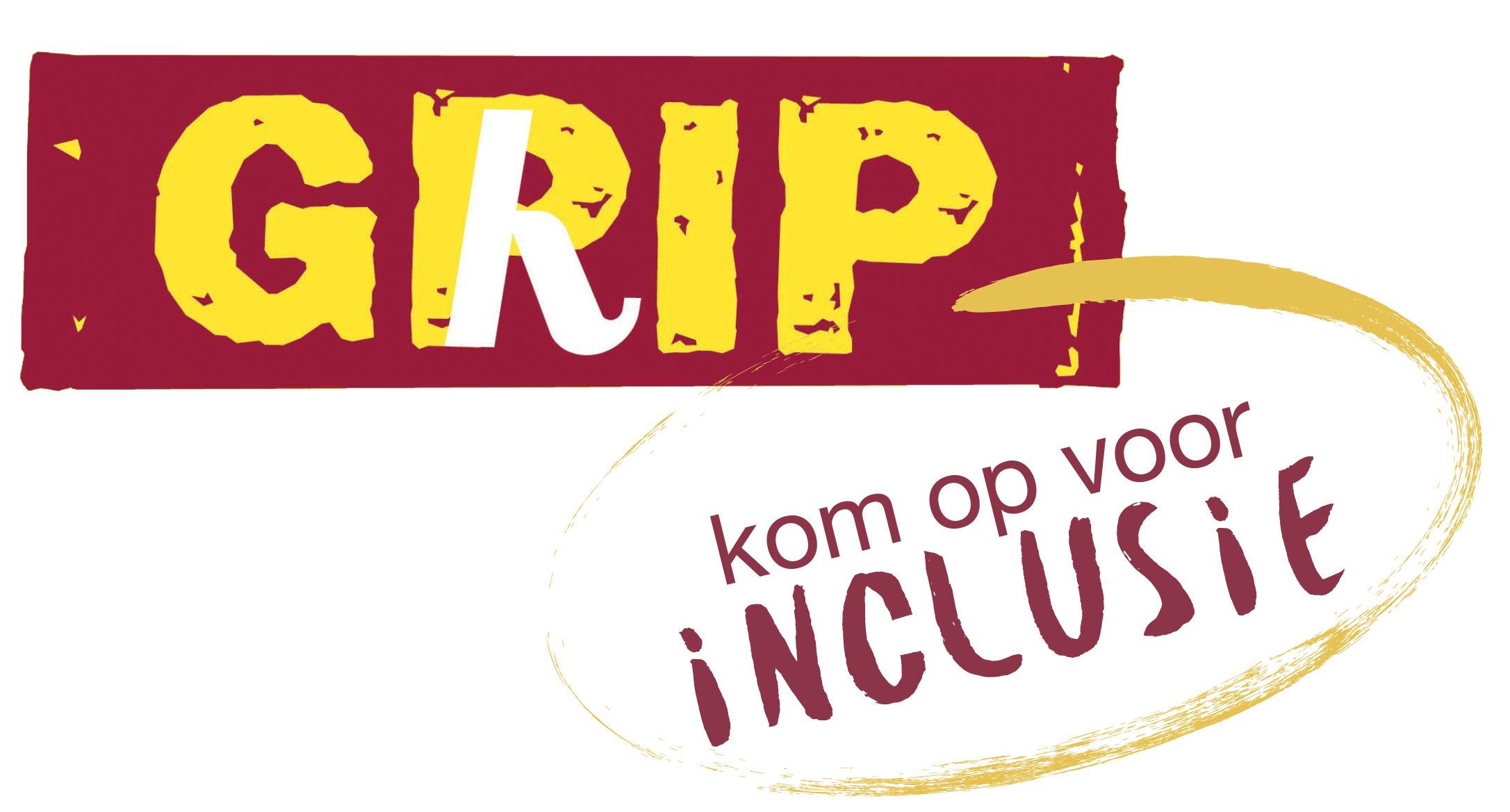 """Logo van GRIP: GRIP staat in gele letters op een rode achtergrond en daaronder staat in een gele cirkel """"kom op voor inclusie"""""""