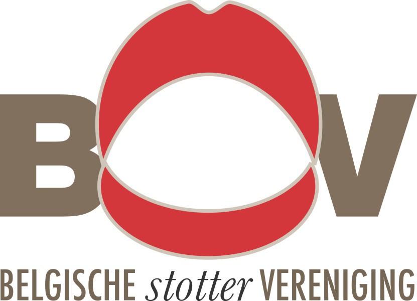 """Het logo bestaat uit de letters b, s en v. De s neemt de vorm aan van een rode opengesperde mond. Onder deze letters staat """"Belgische stottervereniging"""""""